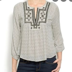 Lucky brand lilah mirror boho blouse small